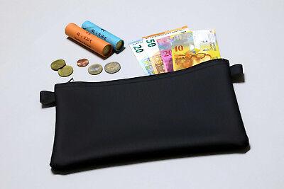 Banktasche Geldtasche mit Reißverschluss aus schwarzem Kunstleder 27 x 17 cm