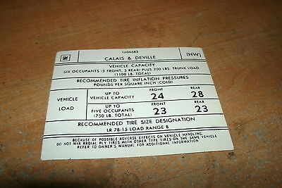 1975 1976 CADILLAC CALAIS DEVILLE TIRE PRESSURE SPECIFICATIONS DECAL STICKER NEW