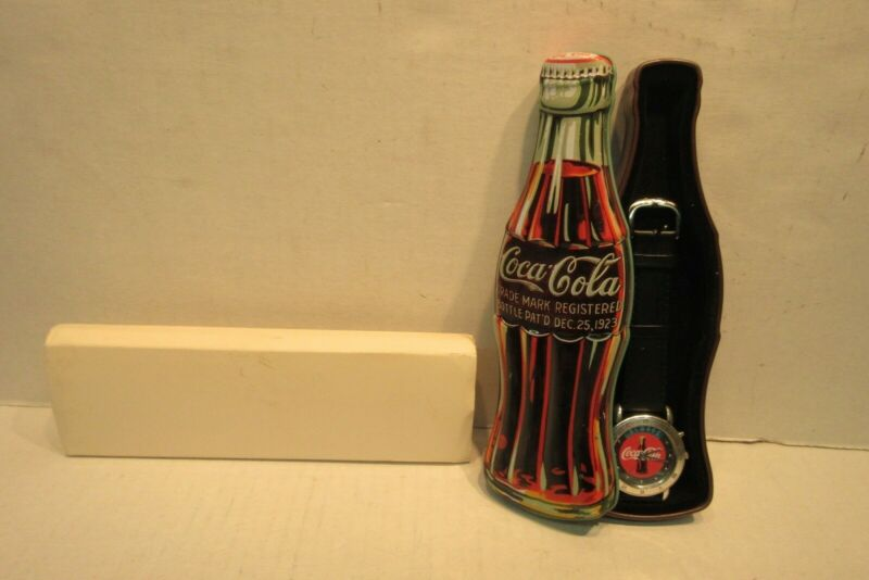 1997 Coca Cola Advertising Logo Valdawn Watch with Bottle Shaped Tin