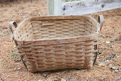 "Antique Large Slat Wood Basket Double Handles 20"" by 23"" Laundry Gathering Hay"