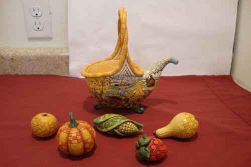"2007 Jim Shore ""Basket of Plenty"" Cornucopia Fruit & Vegetable Footed Basket"
