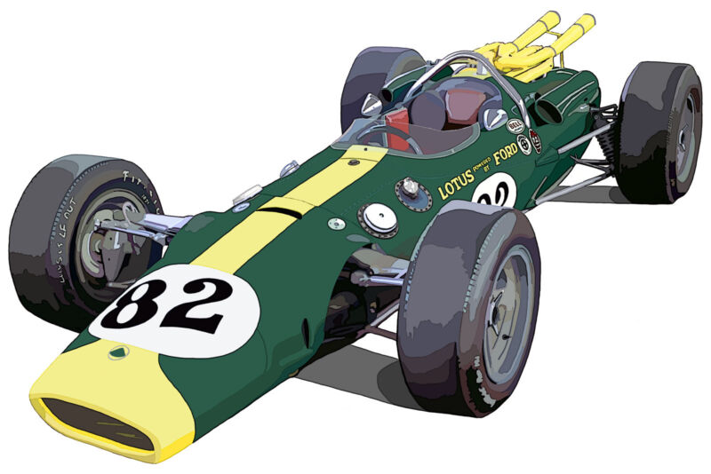 Indianapolis 500 1965 Jim Clark Lotus Ford canvas art print by Richard Browne