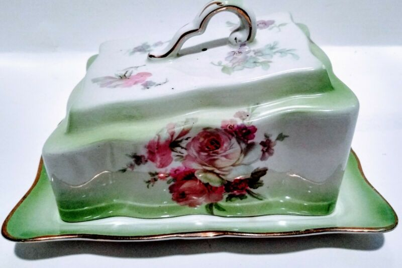 VINTAGE HAND PAINTED NIPPON England COVERED CHEESE/ BUTTER DISH