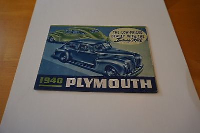 """1940 Plymouth Luxury Ride Roadking Fold-Out Poster Brochure 25"""" x 16.5"""" GOOD"""