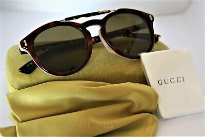 GUCCI Red and Black Tortoise Frame 52mm Green Lens Sunglasses GG0124SA (Red And Black Frame)