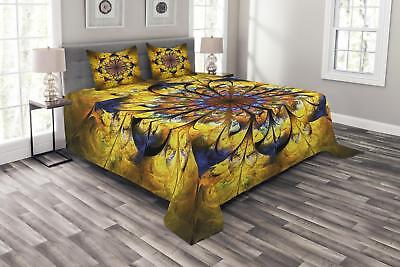 Yellow and Blue Quilted Bedspread & Pillow Shams Set, Mandal