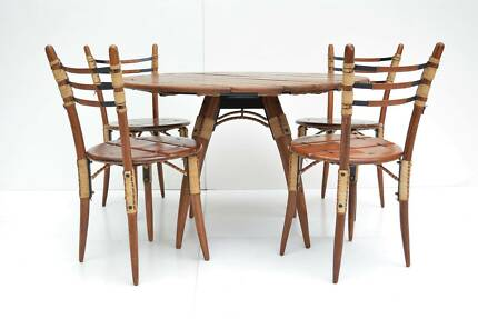 DINING SUITE Pacific Green Table 4 Chairs Eames Parker Danish E