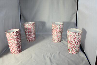 Roseville Workshops of Gerald E. Henn Red Spongewear 12 Oz Tumblers, Lot of 4