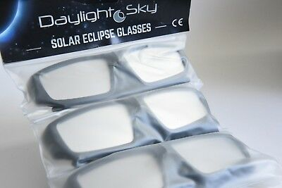 Daylight Sky Solar Eclipse Glasses Plastic Frame 3 Pairs With Soft Cases New
