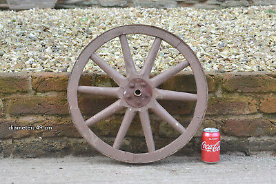 Vintage old wooden cart wagon wheel  / 49 cm - FREE DELIVERY