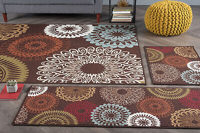 Brown Rings Kaleidoscope Lines Arches Transitional Area Rug Geometric MJS1508 Brown Transitional Area Rug