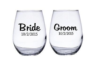 Bride and Groom Personalized Wedding Date Stemless Wine Glasses (Bride And Groom Wine Glasses)