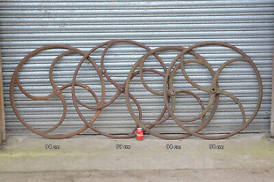 iron machinery wheel old curved spoked well wheel cast iron ornate wheel X1