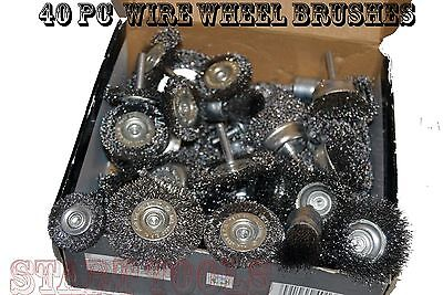Crimped Wheel Brush - 40pc Wire Wheel Brush Cup Assortment Crimped Steel 1/4