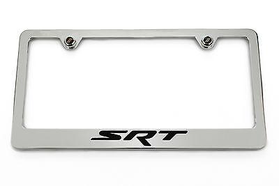 SRT Chrome License Plate Frame - Black Logo Challenger Charger Jeep Chrysler 300 ()