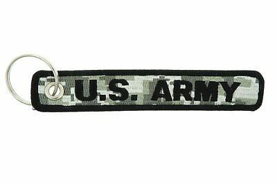Military Key Ring (U.S Army USA Military ACU Camo Double Sided Embroidered Key Chain)