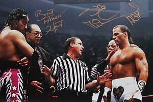 WWE-WWF-HBK-Shawn-Michaels-Bret-Hart-Signed-Iron-Man-WM12-Photo-autograph