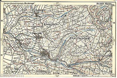 Nieste Niestetal Staufenberg 1914 kl. orig. Wander-Karte Escherode Nienhagen