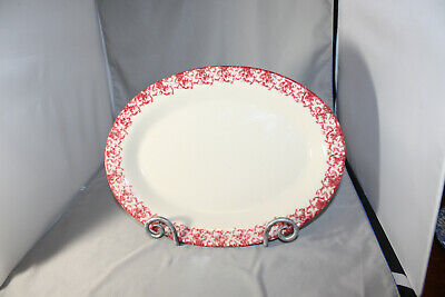 Roseville Workshops of Gerald E. Henn Red  Spongeware, 13 inch Oval Platter, New