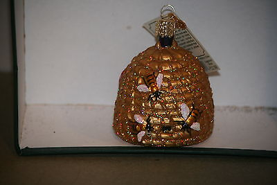 Beehive Bee Skep Old World Christmas glass ornament