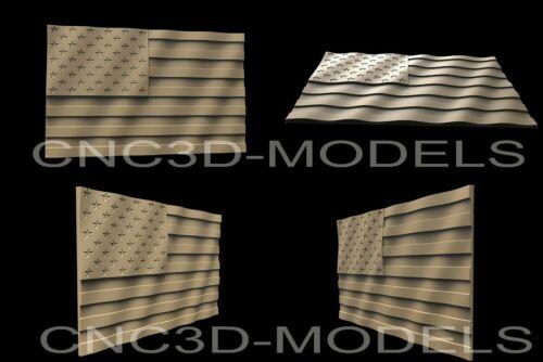 """3D STL Models for CNC Artcam Aspire""""USA Flag""""United States of America Flag.AF7"""