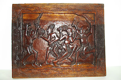 04b56 Antique Panel down Relief Art African Wood Carved Natives Africa