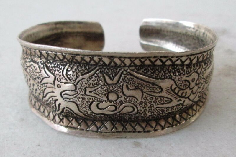 Old Hmong Hill Tribe Unisex Silver Adjustable Bracelet Dragon & Bird Design