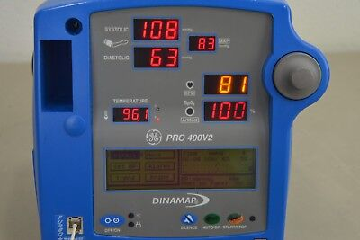 Lot Of Three Ge Dinamap Pro 400v2 Patient Monitor Sp02 Temp Bp 16469-71 A22