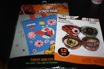 New Halloween Party Lot  Eye Patch & Spiderman Trick or Treat Bag  Stickers   -H](Spiderman Halloween Treat Bag)