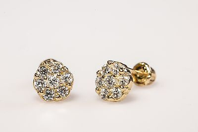 14k Real Yellow Gold 4mm Halo White CZ Flower Stud Earrings Screw Back  Yellow Gold Flower Earrings