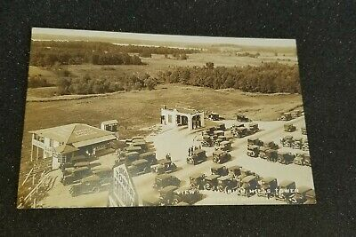 VINTAGE A VIEW FROM IRISH HILLS TOWERS SOUTHERN MICHIGAN AZO POSTCARD UNPOSTED