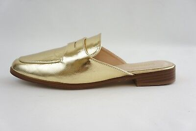 Catherine Malandrino Gold Tuxedo Mules Penny Loafer Slide Women 8.5 NEW Msrp $80