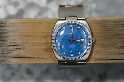 Vintage Waltham Watch with Blue Dial, Divers Case, Original Band, Working