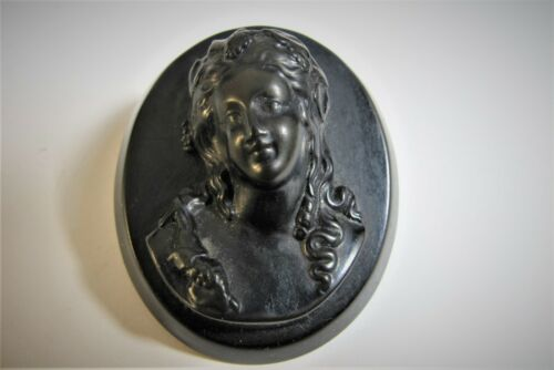 """ANTIQUE VICTORIAN VULCANITE BLACK JET CAMEO BROOCH MOUNTING DOUBLET 2"""" INCHES"""