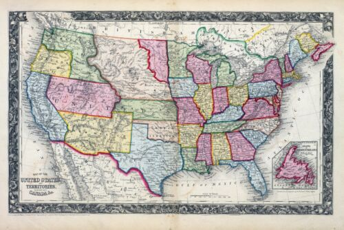 1860 ornate map UNITED STATES AMERICA S. Augustus Mitchell, Jr. POSTER 0565007