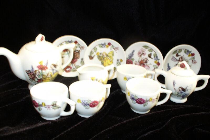 Rare Flower fairies fairy Cicely Barker Porcelain Tea set 13 pieces Child size