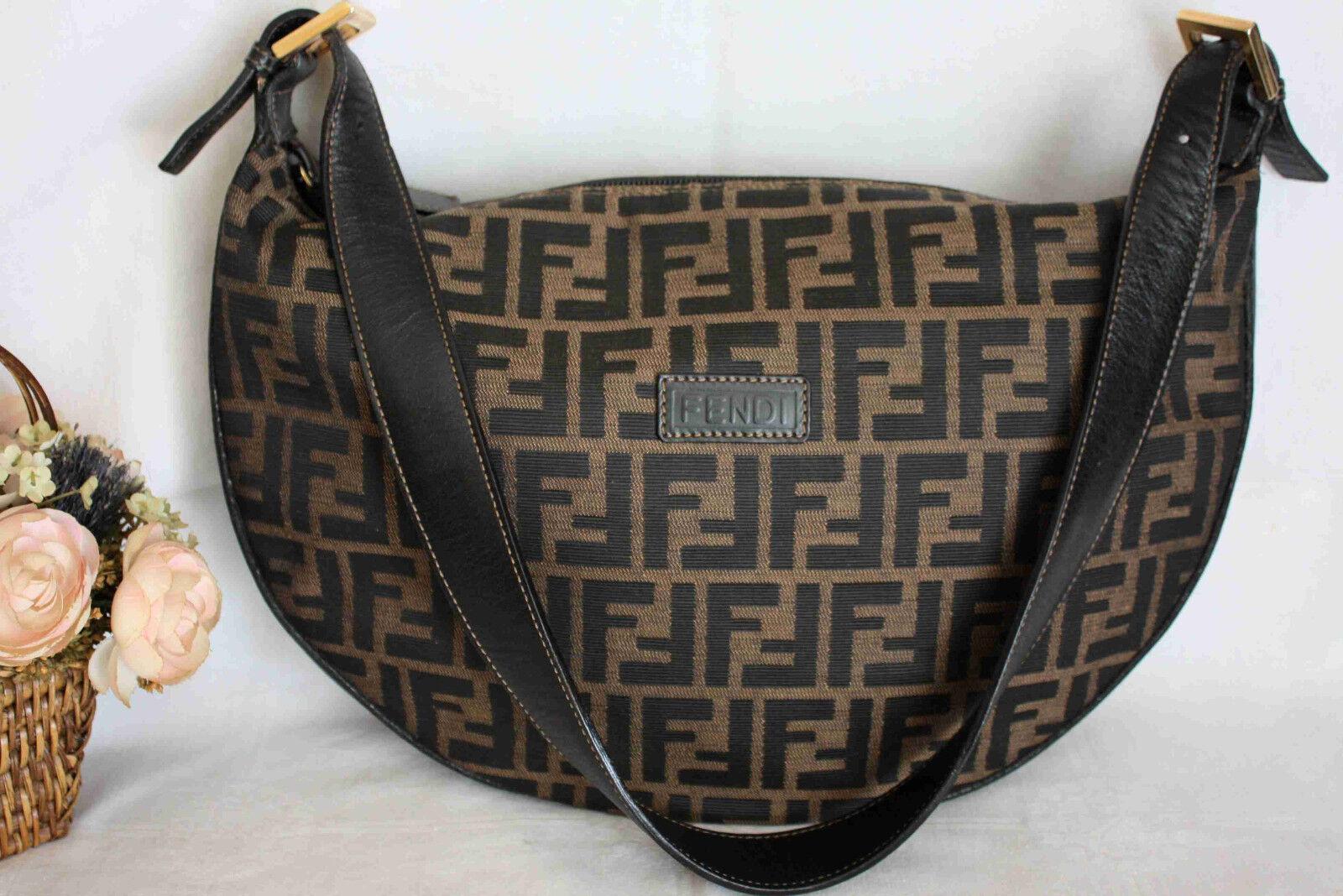 FENDI Tasche Leder Canvas Schultertasche Burg Bag Vintage braun schwarz