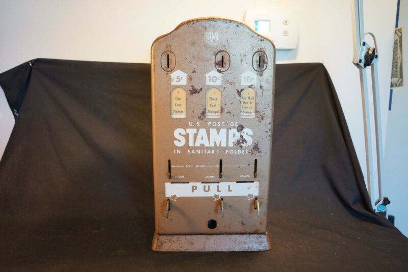 Old Vtg US AMI Mail U.S. Postage Metal Stamp Machine Dispenser Coin Made In USA