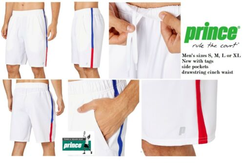 Prince Men's Colorblock Woven polyester tennis shorts in White, Red and Blue NWT