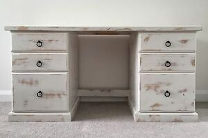 Distressed White Wooden Desk Elanora Heights Pittwater Area Preview