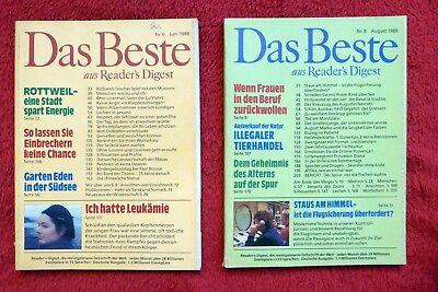 "2 x ""READERS DIGEST"" DAS BESTE Nr 6/1988 und Nr. 8/1988, Leukämie, Tierhandel"