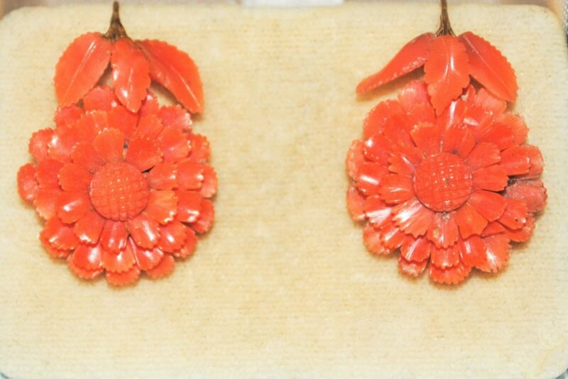 Antique VICTORIAN Carved Coral EARRINGS - 14 Kt Gold