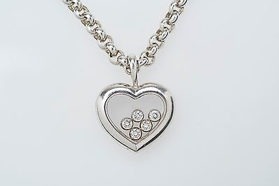 Chopard 18kt White Gold Happy Floating Heart Diamond Necklace Pendant