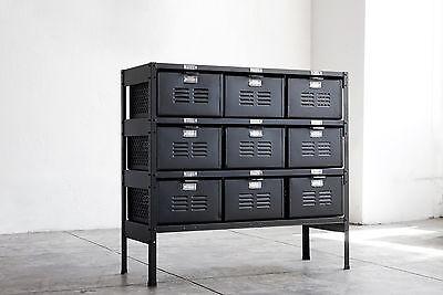 3 x 3 Vintage Locker Basket Unit, Refinished in Matte Black
