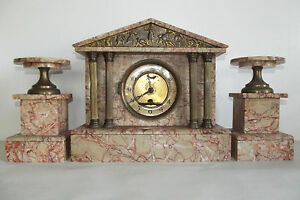 04b64 ancienne horloge temple grec marbre rose bronze dore napol on iii xixe ebay. Black Bedroom Furniture Sets. Home Design Ideas