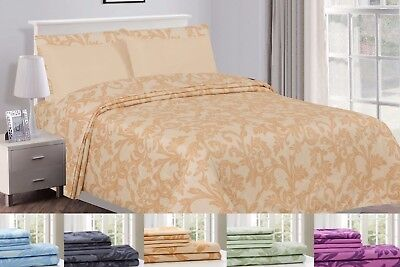 Kendall Printed 1800 Series Egyptian Comfort Bed Sheets Set 6 Piece Multi Colors ()
