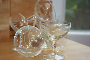 VINTAGE ART DECO PERIOD 6  CRYSTAL GLASS SAUCER CHAMPAGNE GLASSES  CUT & ETCHED
