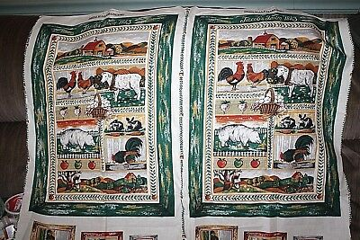 Vtg Farm Wall Hanging Fabric Cows Pigs Roosters Western Ranch Makes 2 pcs  --RR- for sale  Shipping to India