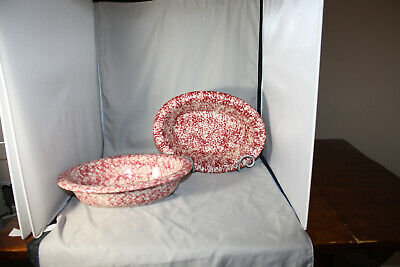 Roseville Workshops of Gerald E. Henn Red, Cranberry Oval Vegetable Bowl, NEW