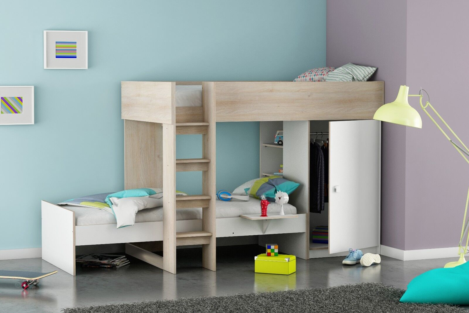 Dylan Unique L Shaped Bunk Bed Frame In Acacia White Childrens